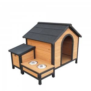 P346 Waterproof Wooden Outdoor Dog Kennel With Storage And Pot