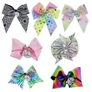 Cheerleading bow cheer hair bow hologram printed