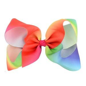 hair jojo bow rainbow color  boutique hair clip for girls