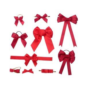 Christmas gift candy package wine bottle decorative bow red