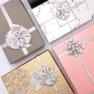 Wholesale grey color custom gift box packaging bow