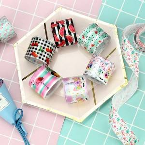 Satin ribbon character print single face hot ribbon for gift packaging