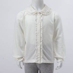 Girl's Knitting Long Sleeve Blouse With Lace