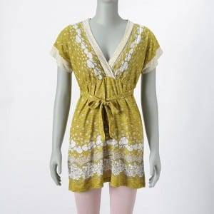 Hot Magbenta ng Ladies Komportable Floral Print Bunchy Sinulid Dress