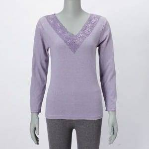 Ladies Knitting V-alu Long Sleeve Camicia Top Cù Lace