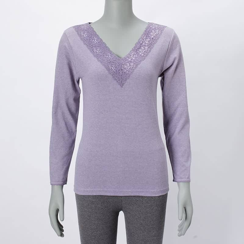 Ladies knitting V-Neck Long Sleeve Blouse Top With Lace