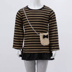 Msichana Knitting Stripe Print O-shingo muda Sleeve Shati Kwa Pocket