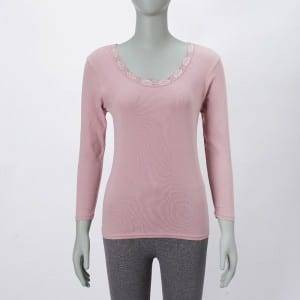Ladies Round-Neck Long Sleeve Blouse Top With Lace