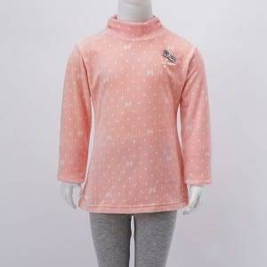 Girl kang Knitting Double Fleece Print H-Neck Lengan Panjang Kaos Kanthi ikatan