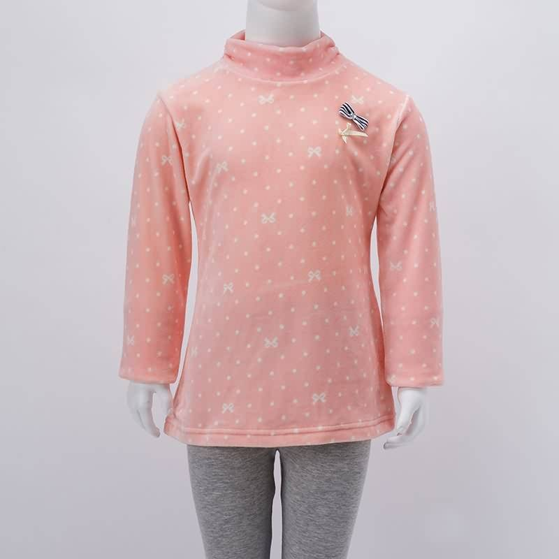 Girl's Knitting Double Fleece Print H-Neck Long Sleeve Shirt With Bowknot