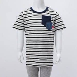 Children Knitting Stripe Print O-Neck Short Sleeve Shirt With Pocket