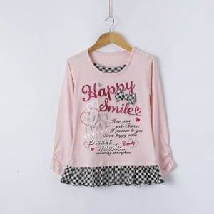 Girl's Knitting Print O-Neck Long Sleeve Shirt With Bowknot