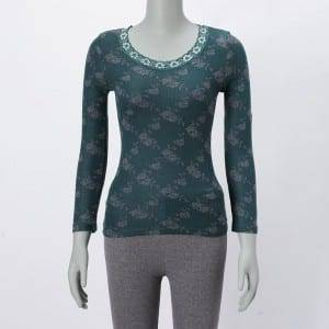 Ladies Jacquard  Weave Round Neck Long Sleeve Blouse Top