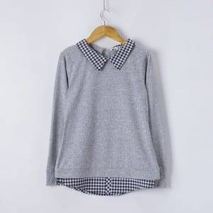Qız Knitting Shirt Collar Double Hem Long Sleeve Bluz