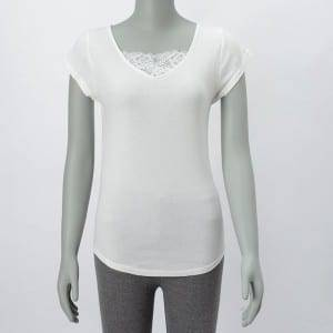Ladies Fitness Solid Round Neck Qısa Sleeve Bluz Top ilə Lace