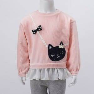 Girl kang Knitting Print Bordir O-Neck Shirt