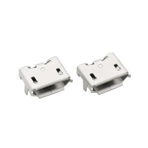 MICRO USB 5P female socket with fixing tail and edge