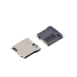 Push type Micro sd memory card reader connector mid-mount 0.8 four