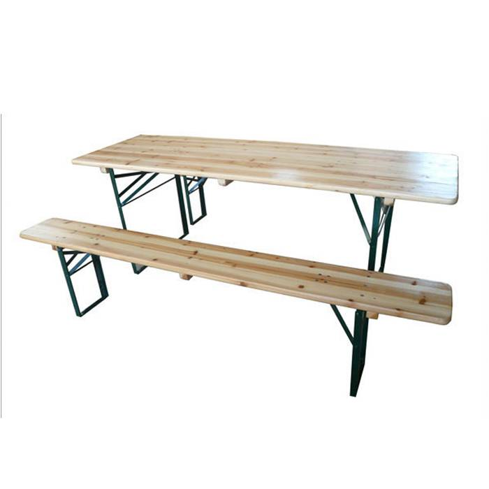 Reasonable price Wooden Beer Table And Bench Set -