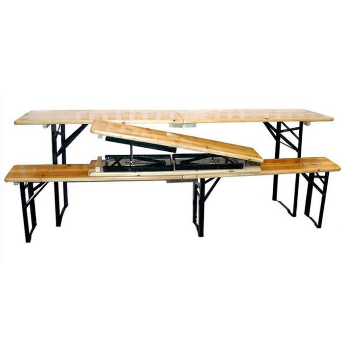 Outdoor Fir BBQ Wood Beer Table And Benches XH-V014