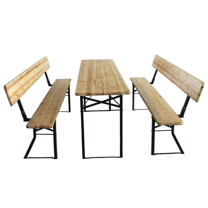 Outdoor Garden Solid Wood Beer Pong Table And Benches XH-V016
