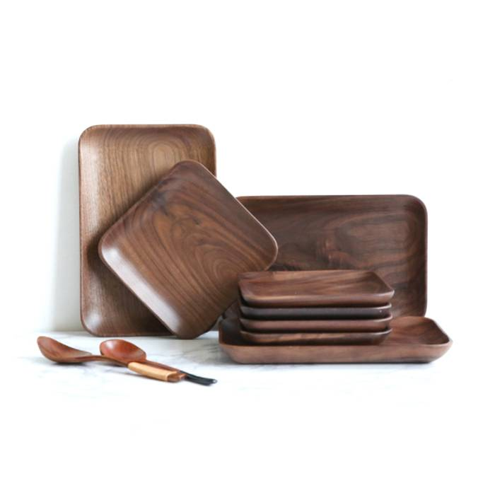 Home Decorative Square Solid Wood Tray