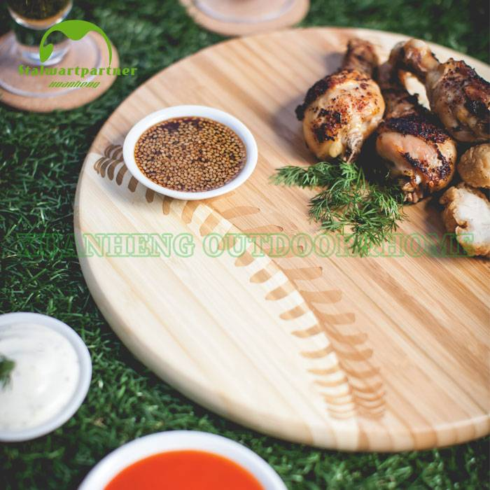 Bamboo-Constructed Baseball-Inspired Chopping Board
