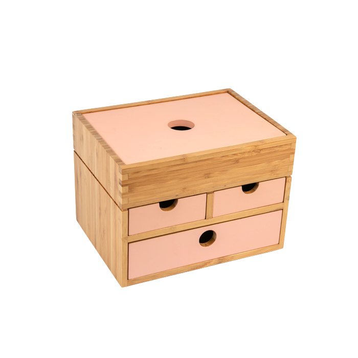 Natural Bamboo Jewelry Box With Drawer