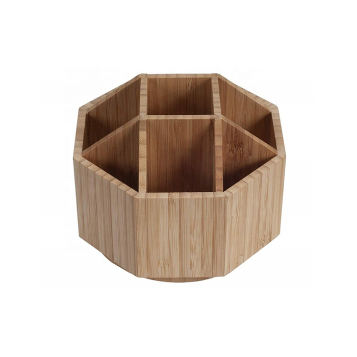 Natural Bamboo Tabletop Rotating Stationery Box Holder