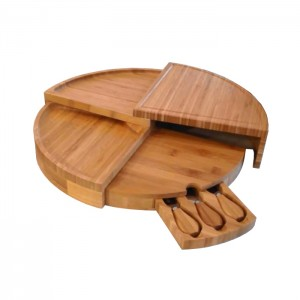 Round Bamboo Cutting Board With 3 Knifes Bamboo Cheese Board