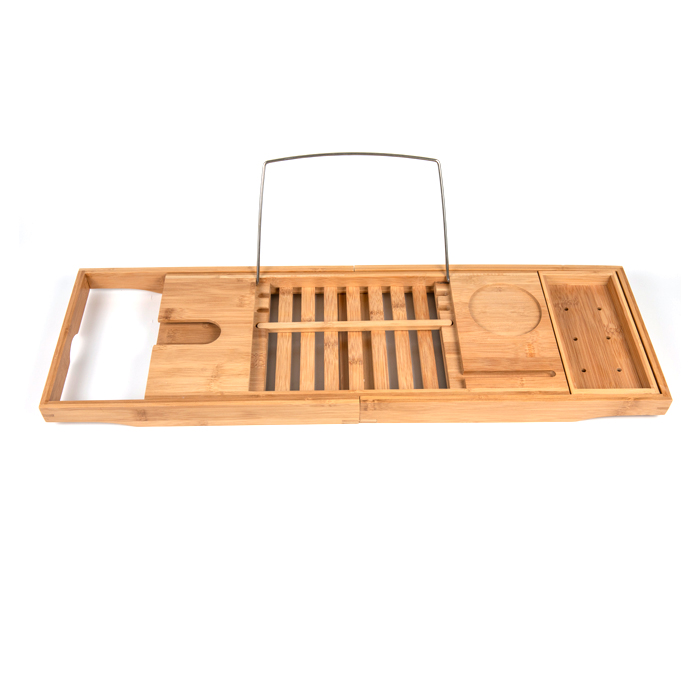 Extendable Bathtub Caddy Tray Natural Bamboo Bathroom Bed Tray