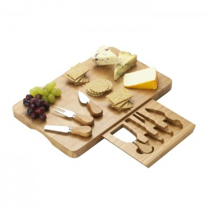 Bamboo Cheese Board With Storage Drawer