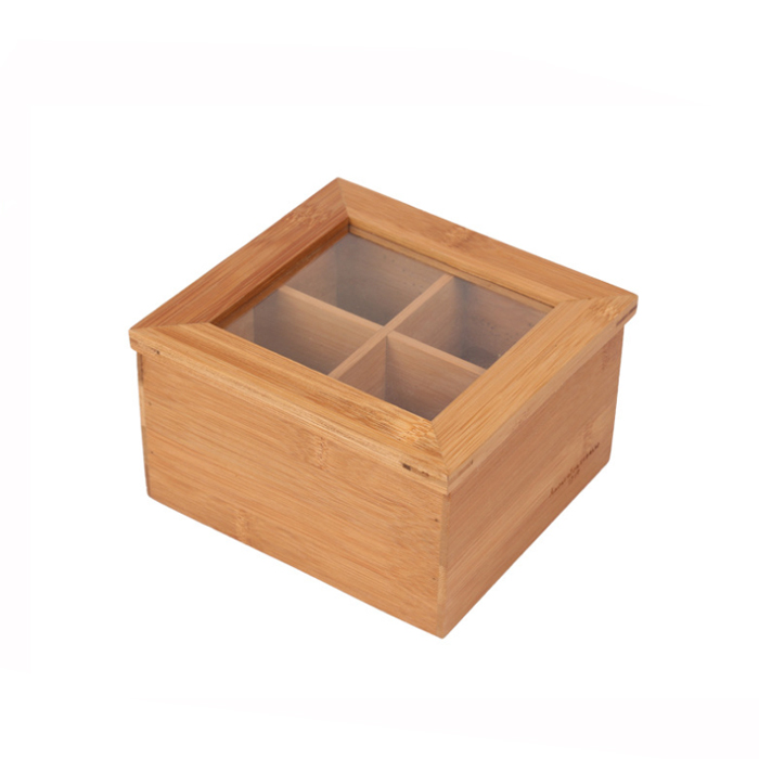Natural Small Bamboo Storage Tea box With Window Lid