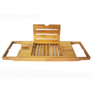 Factory Supply China Bathtub Caddy Tray with Bamboo Wood Book Table Wine Holder