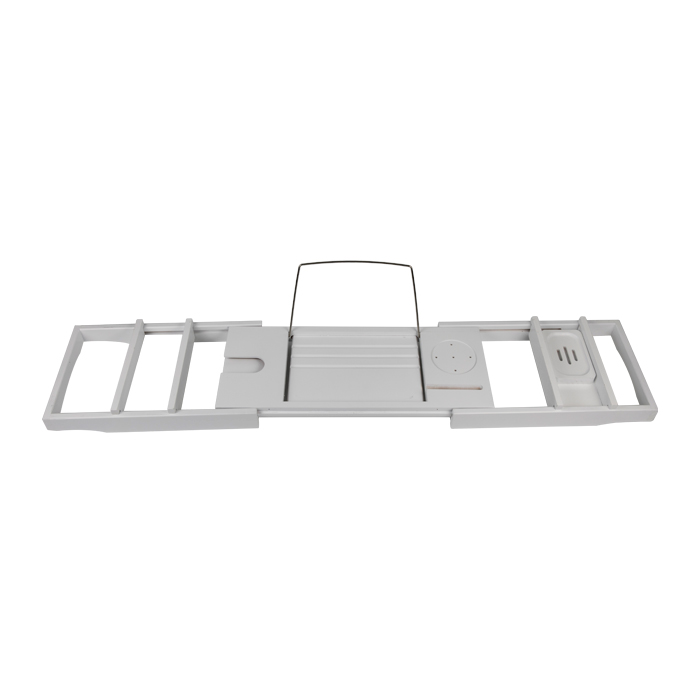 White Color Bamboo Bathroom Bed Tray With Reading Rack