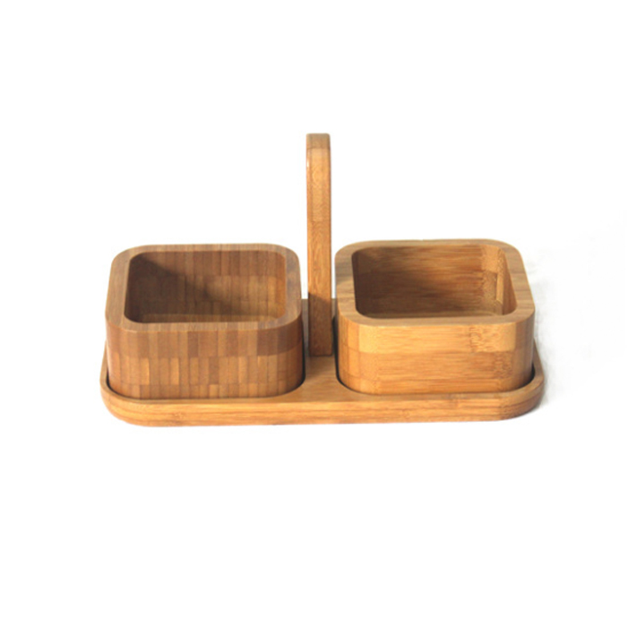 Bamboo Snack Serving Tray With Handle Tray XH-C008