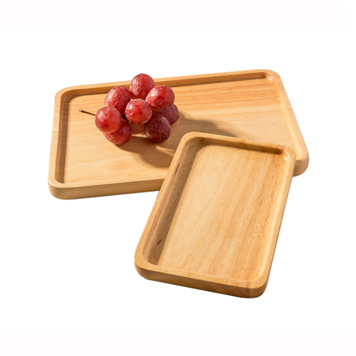 Hot sale Wooden Bamboo Serving Rolling Tray – Wooden Tray Rectangular Western Food Cake Coffee Tea Plate  XH-K002 – Xuanheng