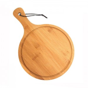 Bamboo Round Pizza Chopping Board With Handle