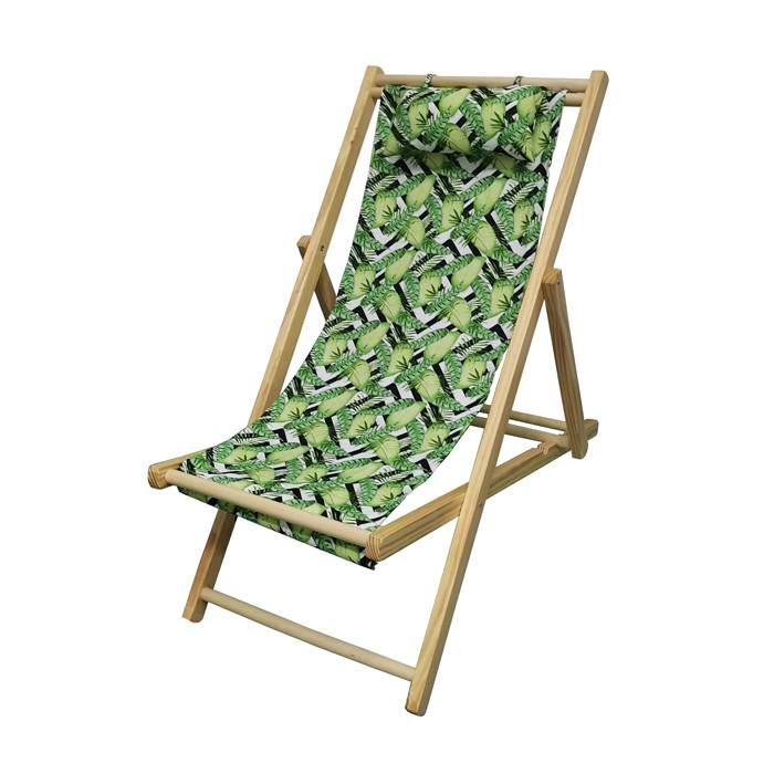Wood Frame Portable Patio Wooden Beach Folding Adjustable Sling Chair  XH-X051