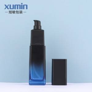packaging cosmetics containers glass jar bottles 50g blue square glass bottle 40ml 110ml 125ml luxury lotion glass bottle