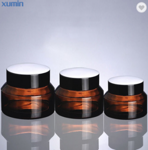 Trade Assurance Amber Glass Cosmetic Jar Fashion Packing 15G 30G 50G Glass Cosmetic Jar
