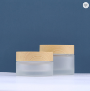 wholesale 30ml 50ml cosmetic jar glass cream jar container frosted glass jar with bamboo lid