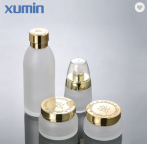 High Quality Golden Cap 30G 50G Frosted Glass Jar Cosmetic 30Ml 120Ml Cosmetic glass bottles