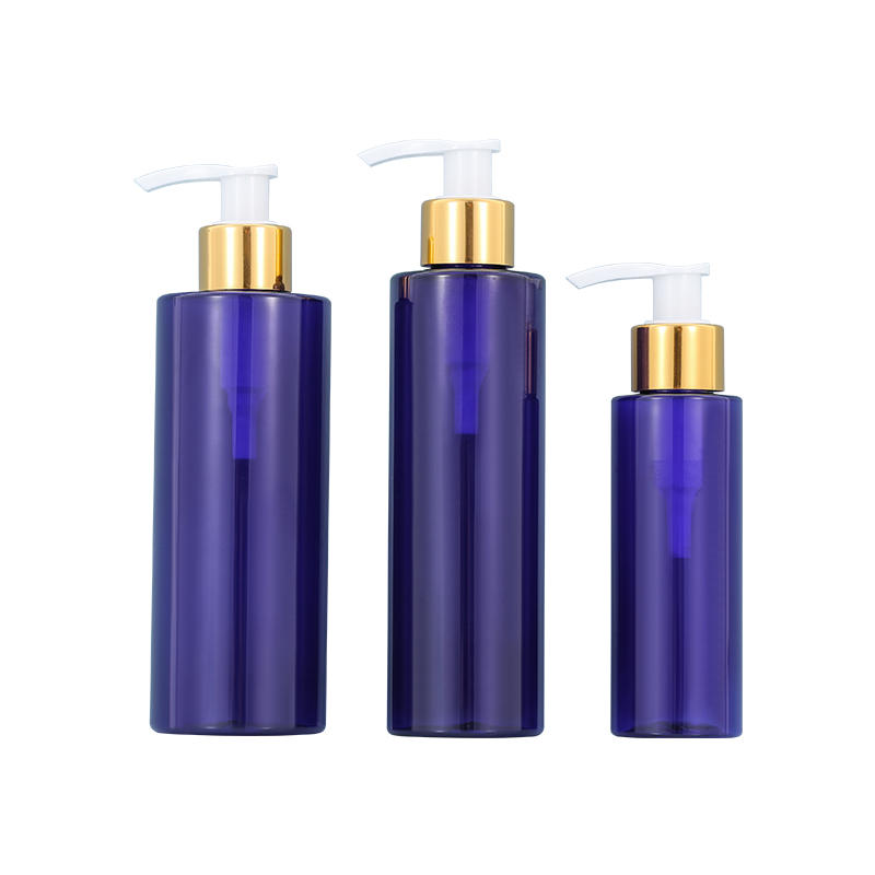 Luxury Blue 100ml pet bottle big capacity 200ML 250ML Golden Circle cosmetic plastic bottle Featured Image