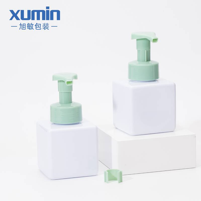 Square shape pump white cosmetic package 350ml PETG foaming bottle plastic bottle for Skin care Featured Image