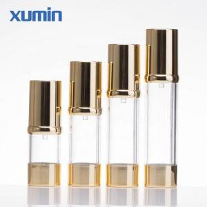 15ml 30ml 40ml 50ml 1oz airless pump bottles lotion bottle with gold lid clear bottle body