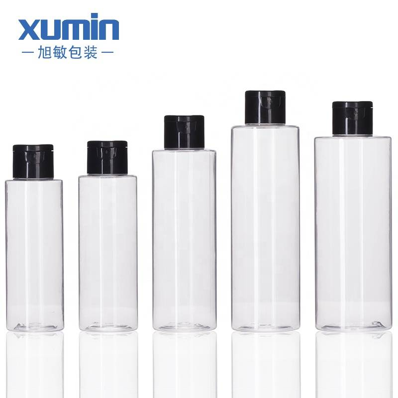 Lotion bottle 100ml 120ml 150ml 200ml 250ml transparent empty bottle with black pump head Featured Image
