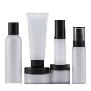 Wholesale small capacity cosmetic set 20ML pet plastic bottle black cover frosted pump bottle