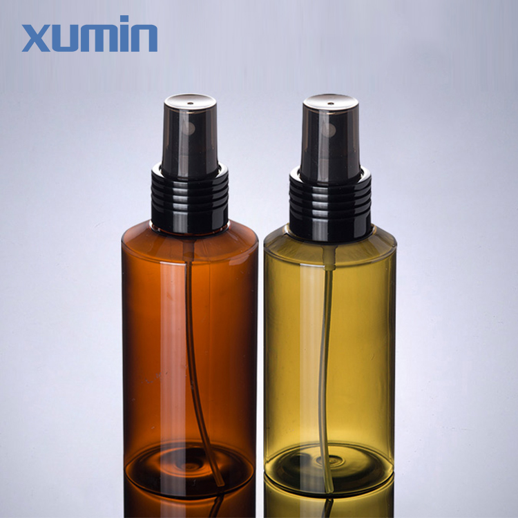 Fashion packaging black spray cap inclined shoulder 100 ml green amber plastic cosmetic pet bottle