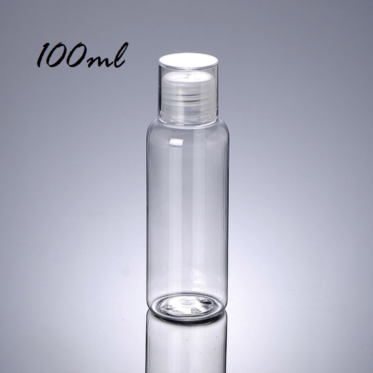 Perfect travel size round shoulder double cover 50ML 100ML 75ML 250ML plastic clear pet bottle